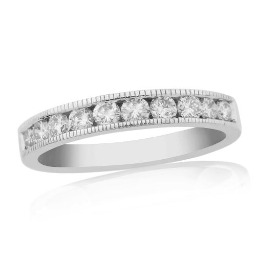 Half Carat White Gold Diamond Channel Set | Eternity Ring | DR1308W